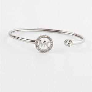Michael Kors Silver Flex Fit Crystal Logo Bracelet